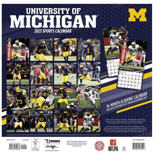 University Of Michigan Calendar 2020 Turner University of Michigan Football 2020 Sport Wall Calendar