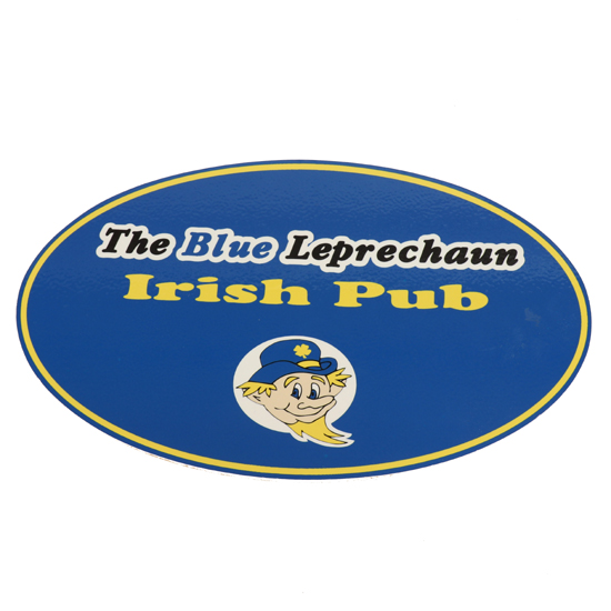 JMB Signs The Blue Leprechaun Irish Pub Ann Arbor Oval Sign