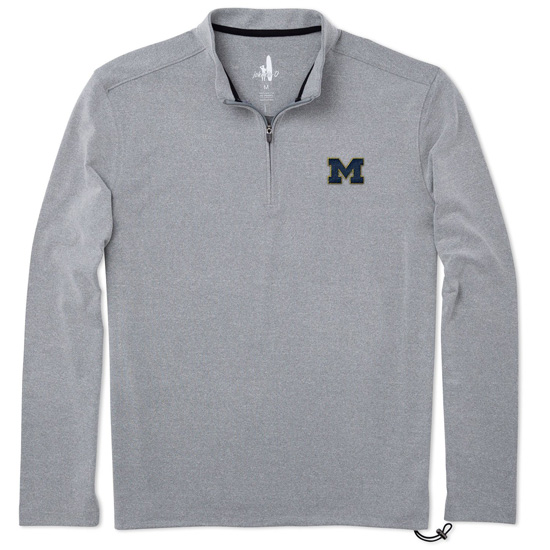 Johnnie-O University of Michigan Meteor Gray Micro-Fleece 1/4 Zip Pullover