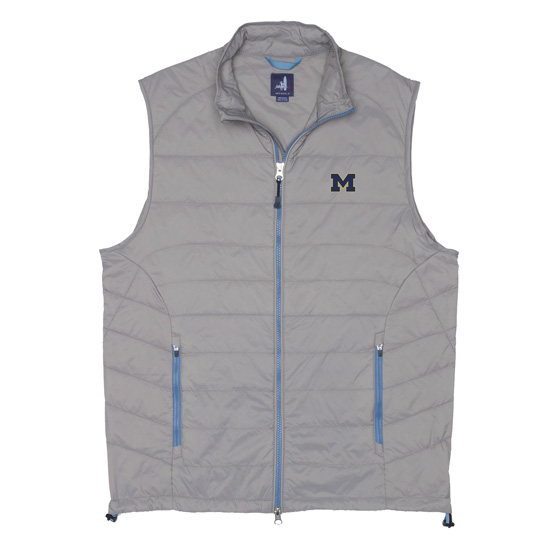 Johnnie-O University of Michigan Giles Two-Way Zip Quilted Vest