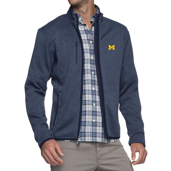 Johnnie-O University of Michigan Midnight Navy Bates 2-Way Full Zip Sweater Fleece Jacket
