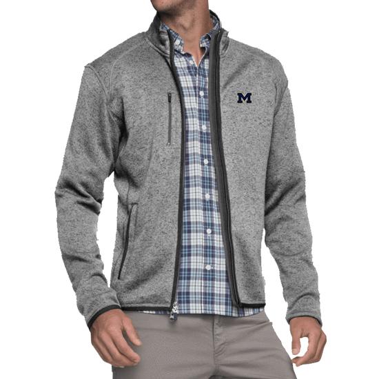 Johnnie-O University of Michigan Light Gray Bates 2-Way Full Zip Sweater Fleece Jacket