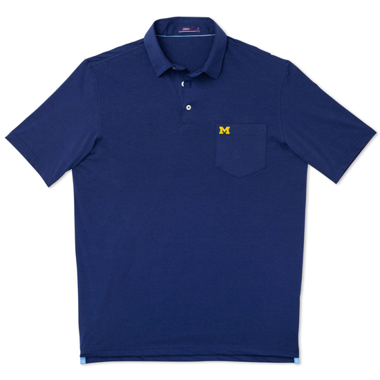 Johnnie-O University of Michigan Twilight Blue Harvey Pocket Polo