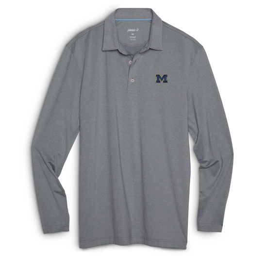 Johnnie-O University of Michigan Meteor Gray Long Sleeve Prep-Formance Polo