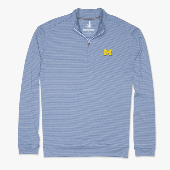 Johnnie-O University of Michigan Lake Blue Striped Flex PREP-Formance 1/4 Zip Pullover