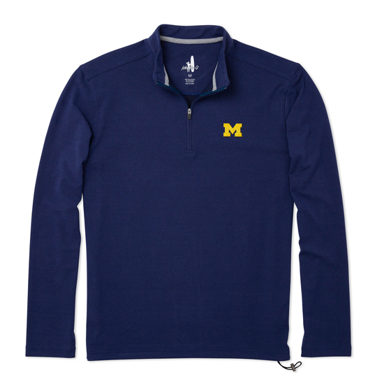 Johnnie-O University of Michigan Twilight Blue Brady Microfleece 1/4 Zip Pullover