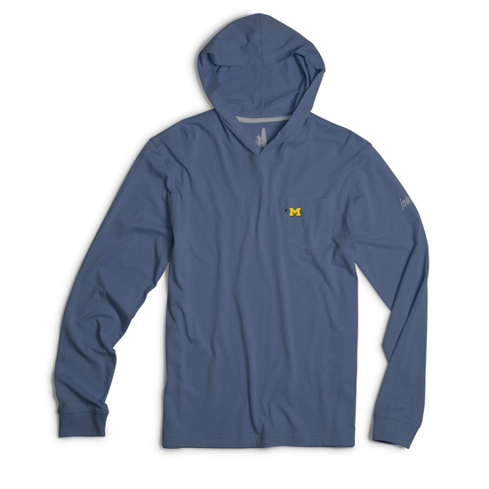 Johnnie-O University of Michigan Maritime Blue Long Sleeve Hooded Tee