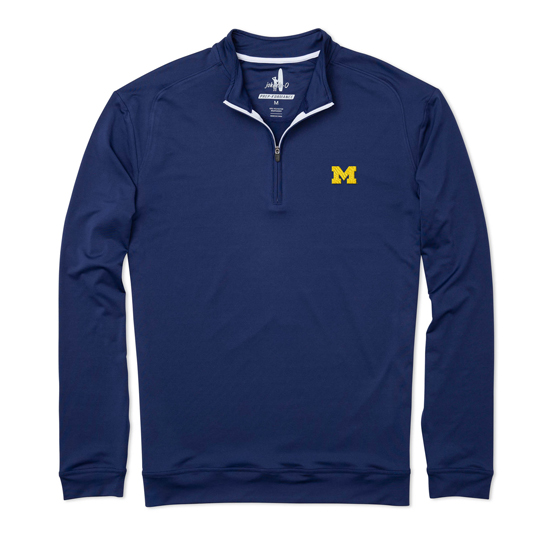 Johnnie-O University of Michigan Twilight Blue Flex PREP-Formance 1/4 Zip Pullover