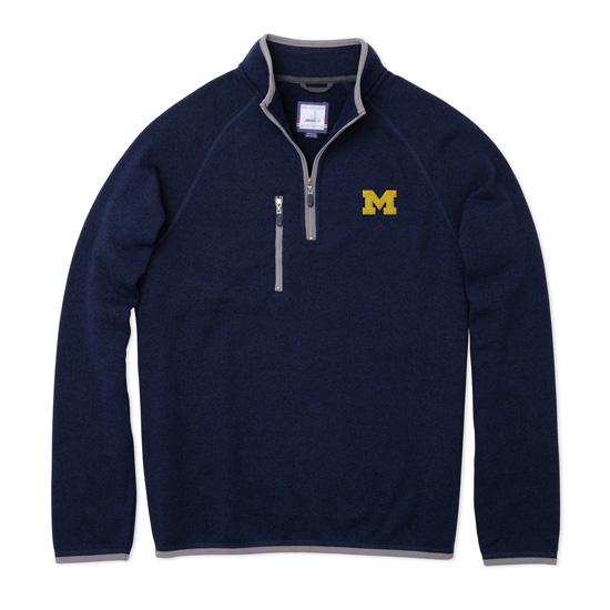 Johnnie-O University of Michigan Admiral Navy Yukon Fleece 1/4 Zip Pullover Sweatshirt
