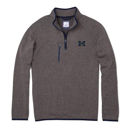 Johnnie-O University of Michigan Quarry Yukon Fleece 1/4 Zip Pullover Sweatshirt