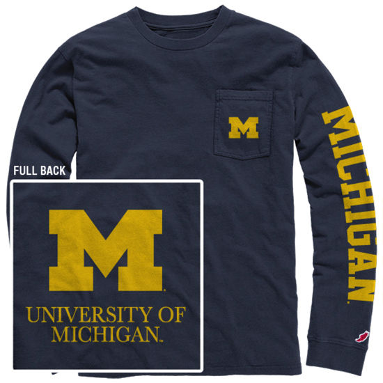 League Outfitters University of Michigan Blue Long Sleeve Pocket Tee