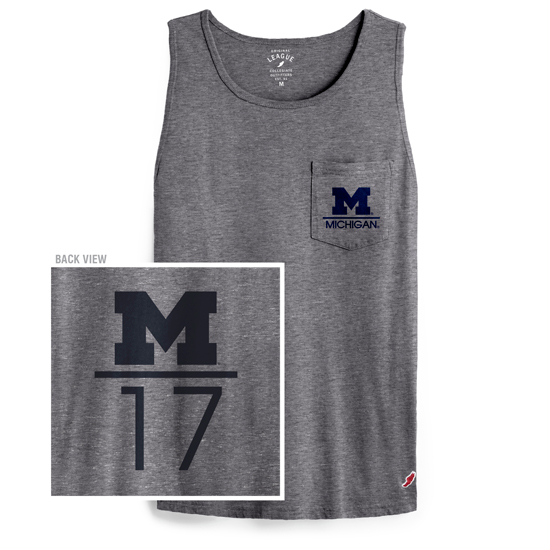 League Collegiate Outfitters University of Michigan Gray Vintage Washed Pocket Tank Top