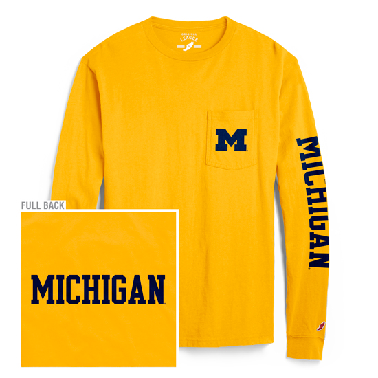 League Collegiate Outfitters University of Michigan Yellow Long Sleeve Pocket Tee
