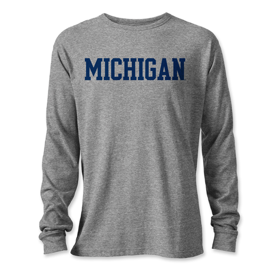 League Collegiate Outfitters University of Michigan Gray Long Sleeve Victory Falls Tee