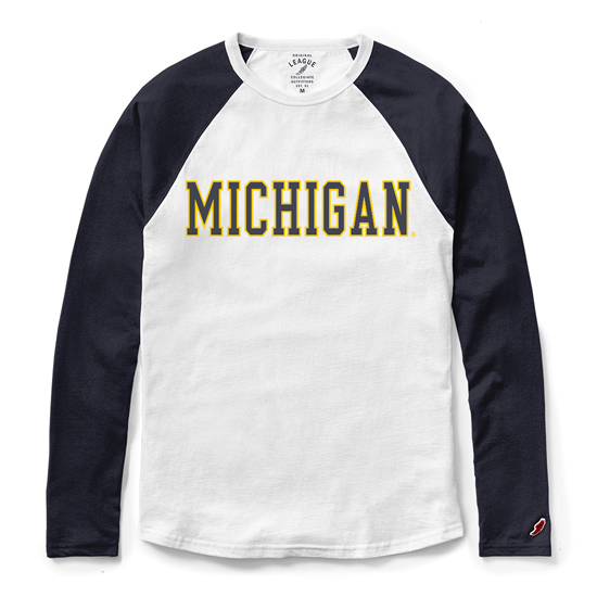 League Collegiate Outfitters University of Michigan All-American Raglan Baseball Tee