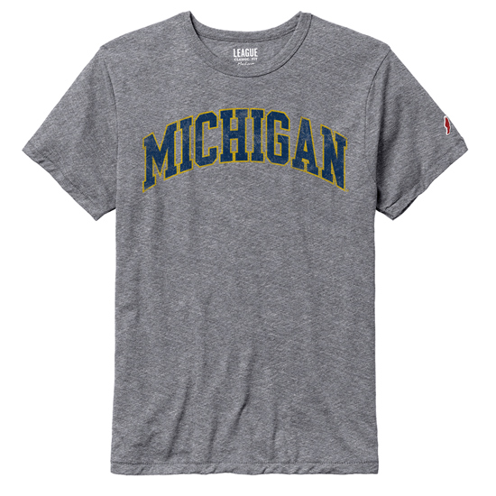 League Collegiate Outfitters University of Michigan Gray Victory Falls Triblend Tee