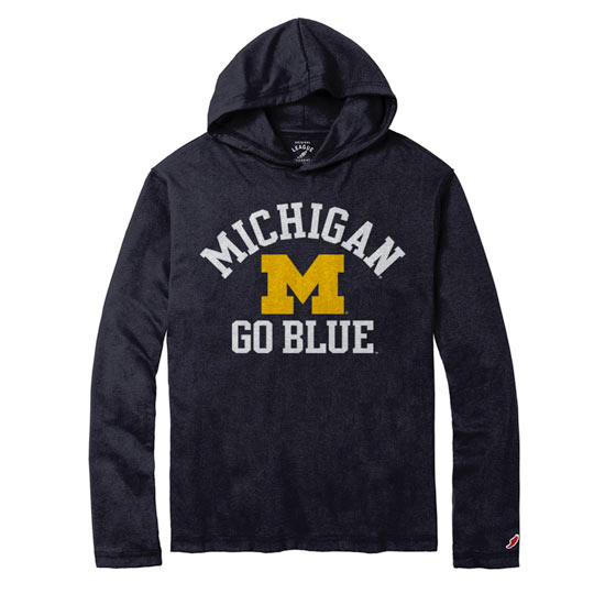 League University of Michigan Navy Long Sleeve All-American Hooded Tee