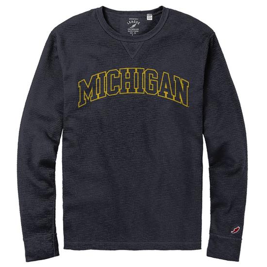 League Collegiate Outfitters University of Michigan Navy Long Sleeve Slub Thermal Tee