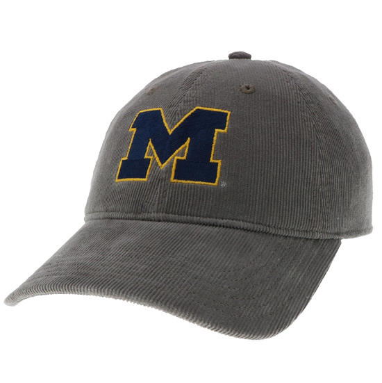 Legacy University of Michigan Gray Corduroy Relaxed Hat