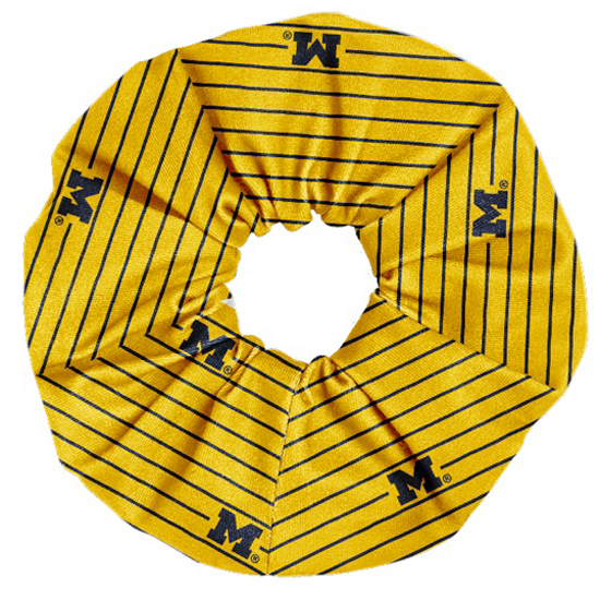 League Collegiate Outfitters University of Michigan Yellow Striped Scrunchy