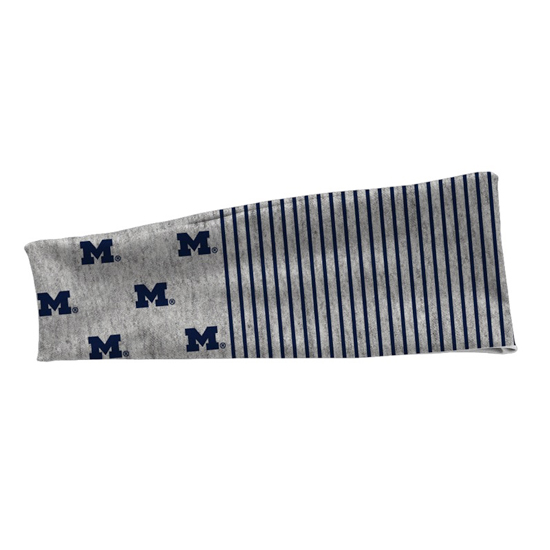 League Collegiate Outfitters University of Michigan Gray Striped with Block ''M'' Logo Headband