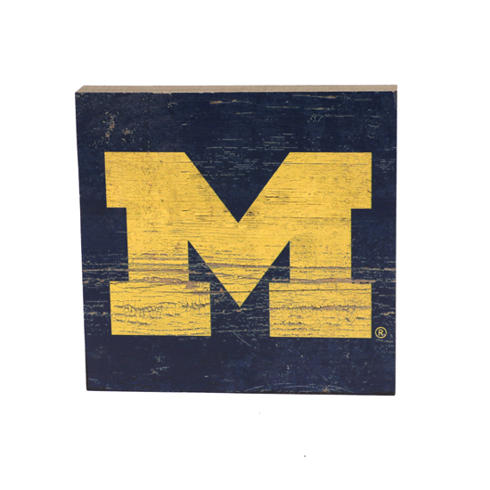 Legacy University of Michigan Navy with Yellow Block ''M'' Table Top Square Sign