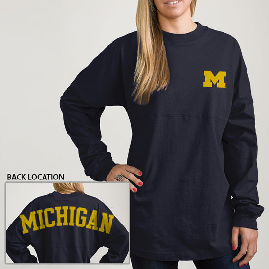 League Outfitters University of Michigan Ladies LS Oversized Rah Rah Tee