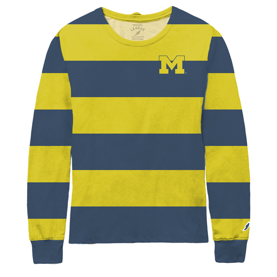 League Collegiate Outfitters Women's Heather Navy and Yellow Long Sleeve Rally Stripe Tee
