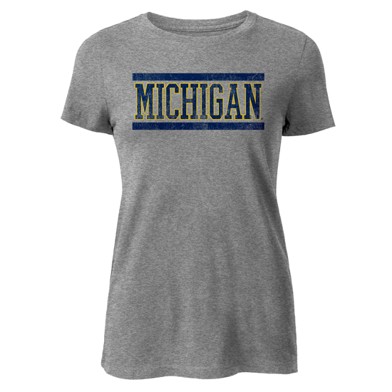 League Collegiate Outfitters University of Michigan Women's Heather Gray Freshy Tee