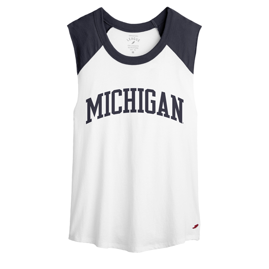 League Collegiate Outfitters University of Michigan Women's White/Navy Ringer Cut-Off Tee