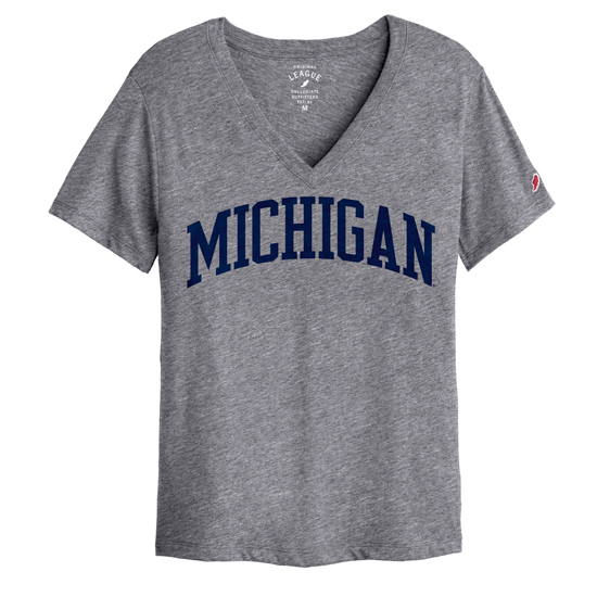 League Collegiate Outfitters University of Michigan Women's Heather Gray Intramural V-Neck Tee
