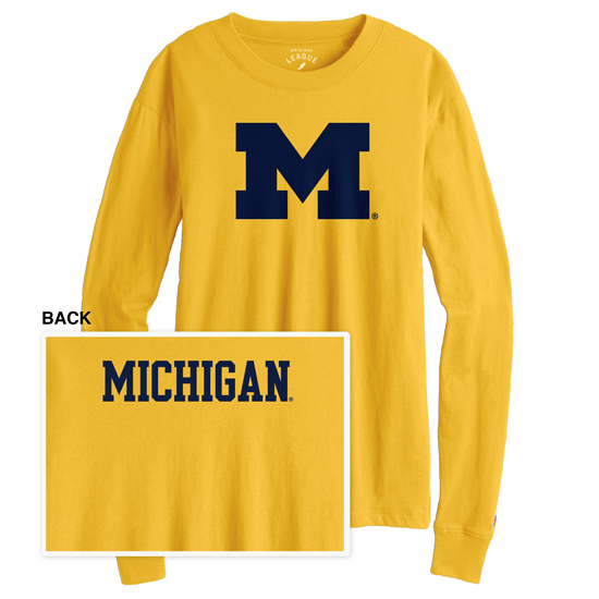 League Collegiate Outfitters University of Michigan Women's Maize Long Sleeve Camp Tee