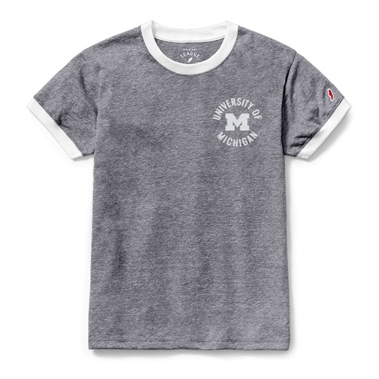 League Collegiate Outfitters University of Michigan Women's Heather Gray Ringer Tee