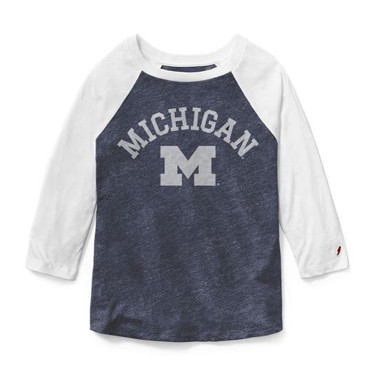 League Collegiate Outfitters University of Michigan Women's 3/4 Raglan Sleeve Intramural Baseball Tee
