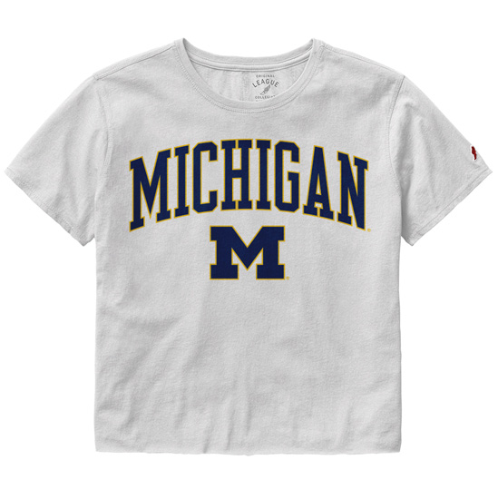 League Collegiate Outfitters University of Michigan Women's White Clothesline Cotton Crop Tee