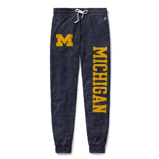 League Collegiate Outfitters University of Michigan Women's Heather Navy Intramural Jogger Pants