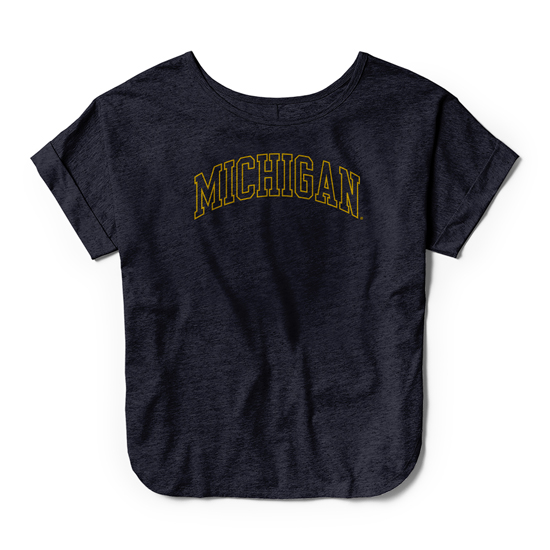 League Collegiate Outfitters University of Michigan Women's Unwind Navy Athleisure Dreamer Tee