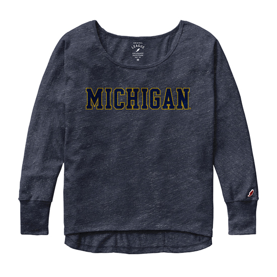 League Collegiate Outfitters University of Michigan Women's Navy Long Sleeve Oversized Tee