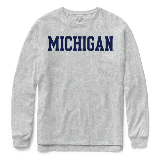 League Collegiate Outfitters University of Michigan Women's Gray Long Sleeve Clothesline Tee