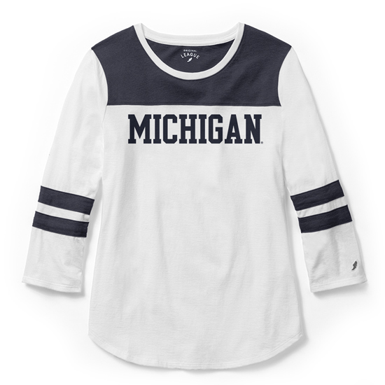League Collegiate Outfitters University of Michigan Women's Playoff 3/4 Sleeve Tee