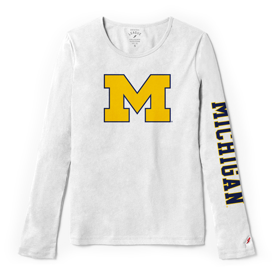 League Collegiate Outfitters University of Michigan Women's White Long Sleeve Freshy Tee