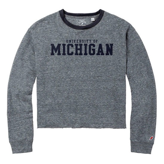 League Collegiate Outfitters University of Michigan Women's Long Sleeve Gray Intramural Crop Tee