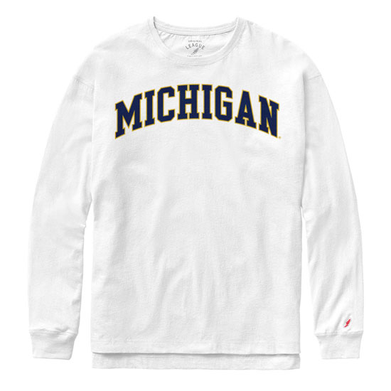 League Collegiate Outfitters University of Michigan Women's ''Clothesline''  White Long Sleeve Tee