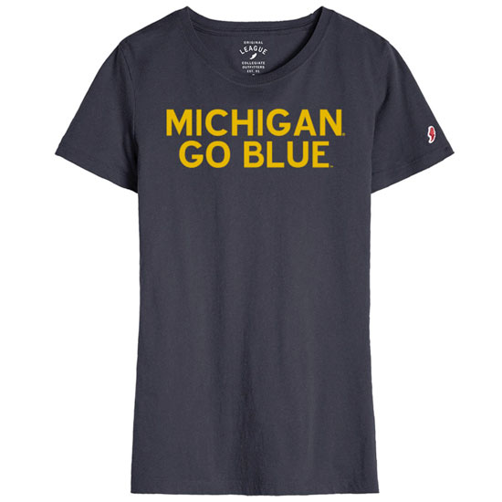 League Collegiate Outfitters University of Michigan Women's Navy ''Go Blue'' Freshy Tee
