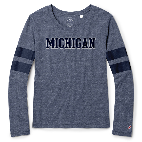 League Collegiate Outfitters University of Michigan Women's Heather Navy Long Sleeve Phys Ed Sporty Stripe Tee