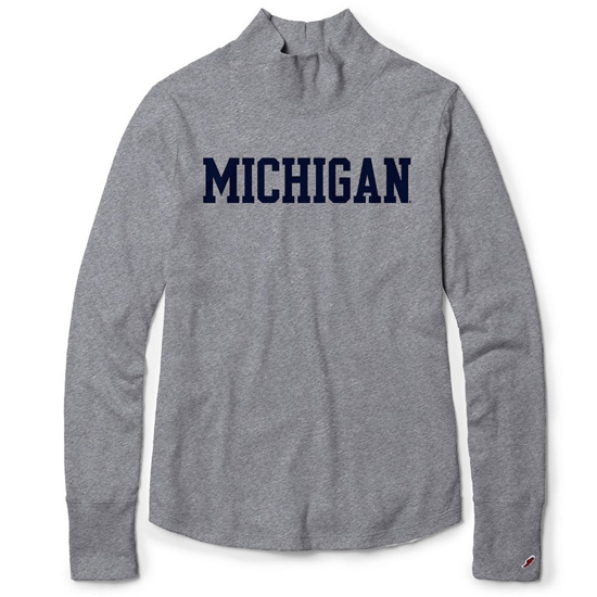 League Collegiate Outfitters University of Michigan Women's Fall Heather Gray Long Sleeve Mockneck Freshy Tee