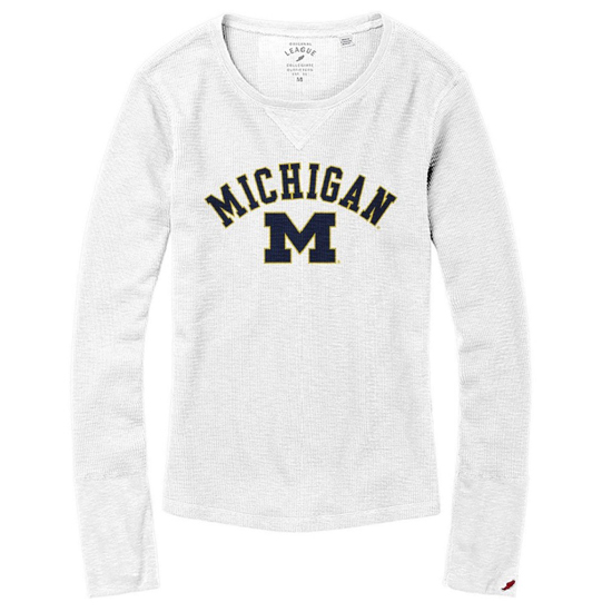 League Collegiate Outfitters University of Michigan Women's White Long Sleeve Slub Thermal Tee
