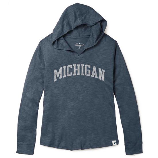 Unwind by League University of Michigan Women's Washed Denim Blue Slub Hooded Tee