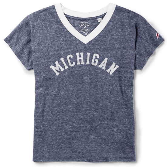 League Collegiate Outfitters University of Michigan Women's Heather Navy V-Neck Ringer Tee