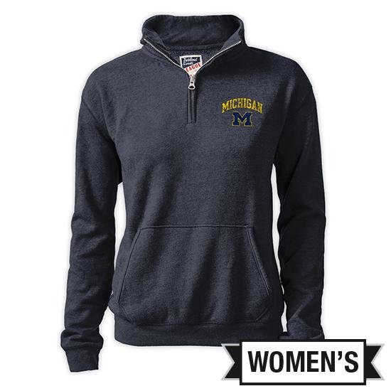League Collegiate Outfitters University of Michigan Women's Heather Navy Triblend 1/4 Zip Pullover Sweatshirt